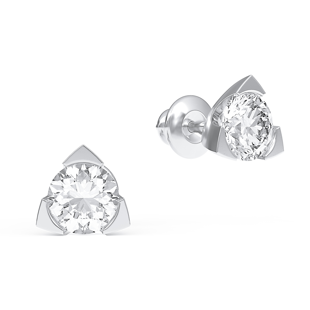 Earrings-studs with diamonds 1.00 ct